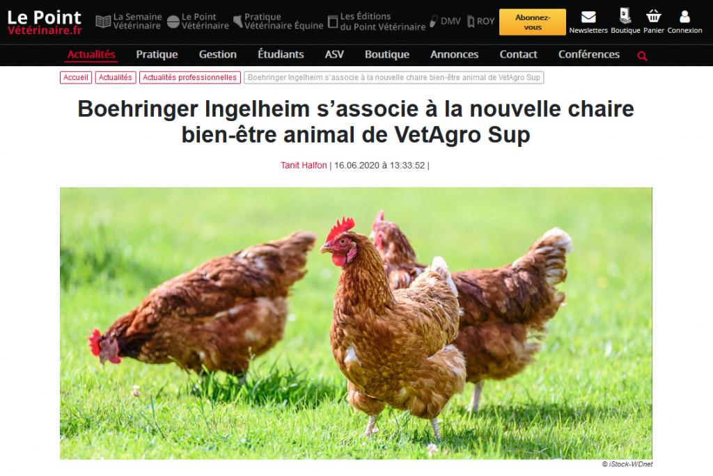 LePointVeterinaire.fr – Boehringer Ingelheim s'associe à la nouvelle chaire bien-être animal de VetAgro Sup