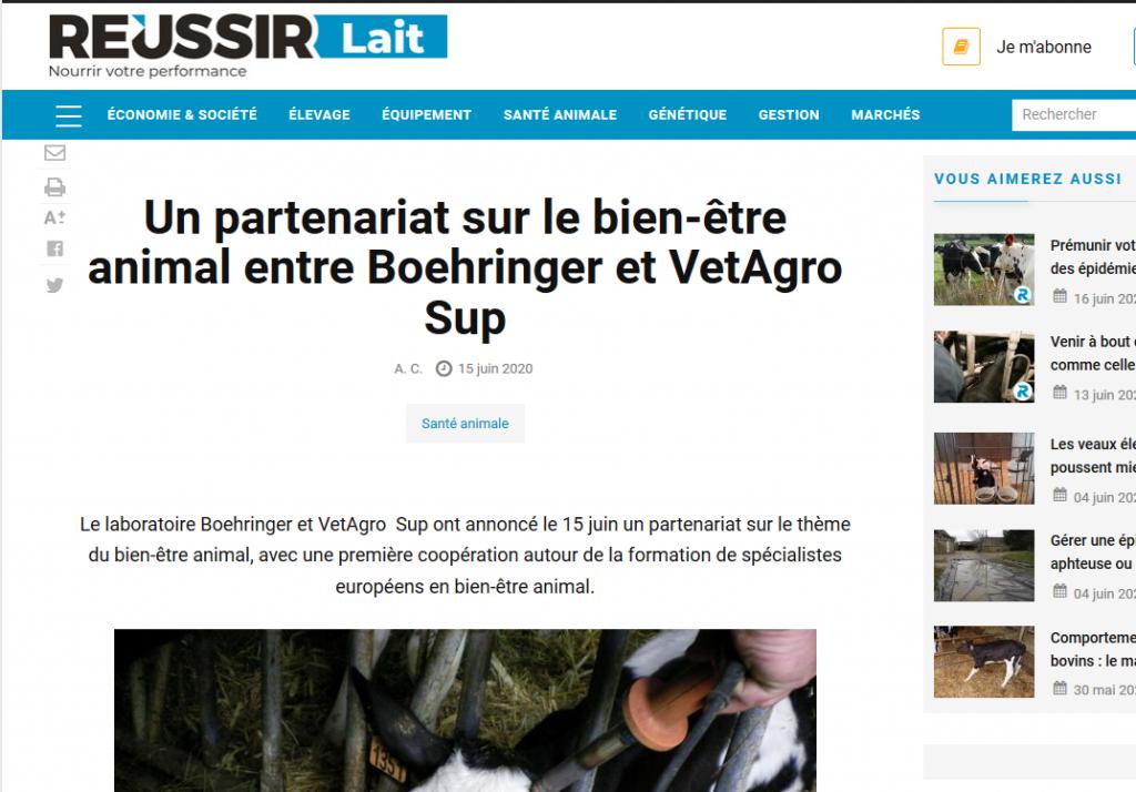 Réussir – Un partenariat sur le bien-être animal entre Boehringer et VetAgro