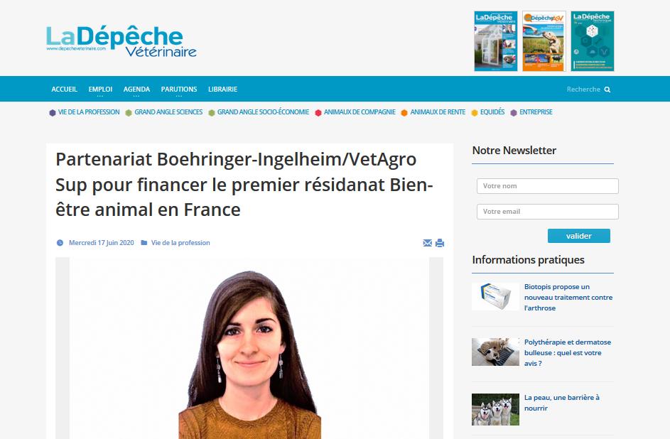 La Depêche Vétérinaire –  Partenariat Boehringer-Ingelheim/VetAgro Sup pour financer le premier résidanat Bien-être animal en France