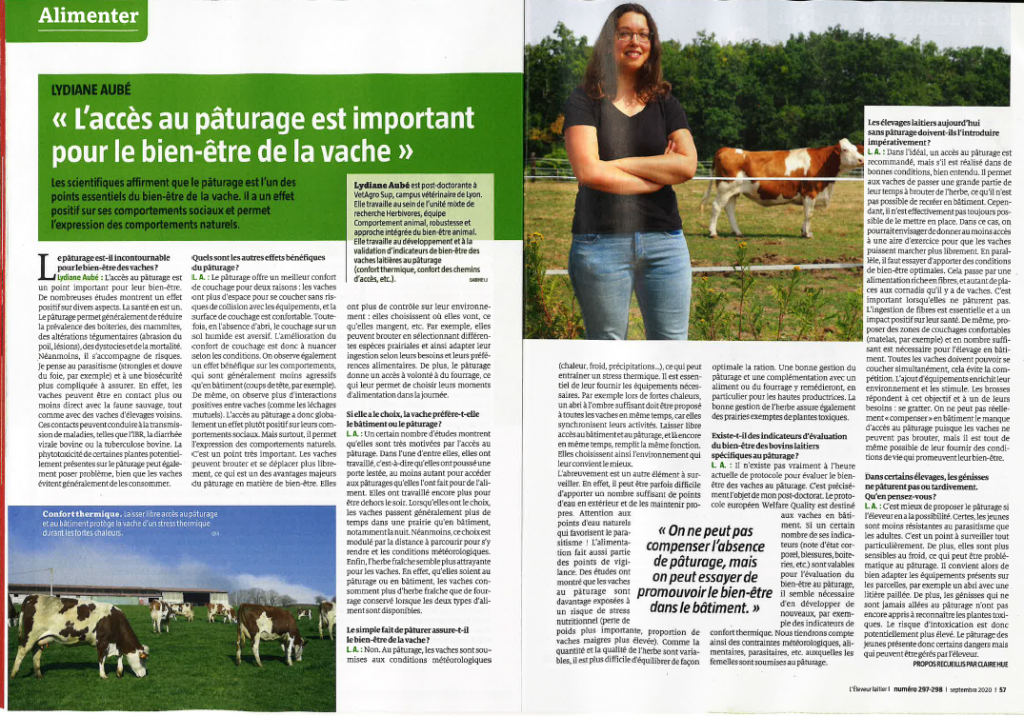L'éleveur laitier – L'accès au pâturage est important pour le bien-être de la vache